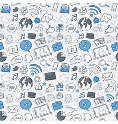 Blue Sticker mobile apps pattern vector image