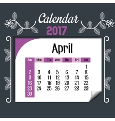 calendar april 2017 template icon vector image