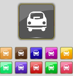 Car icon sign Set with eleven colored buttons for vector image vector image
