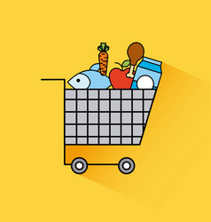 cartoon full cart shopping food fresh grocery vector image