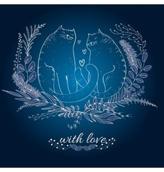 Cats and love vector image vector image