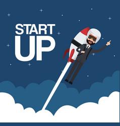 Cloud landscape background star up business man vector