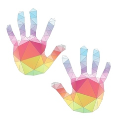 colorful hand prints poligonal art vector image vector image