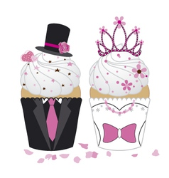 Cupcake wedding vector