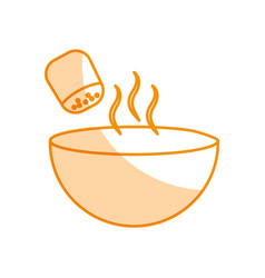 Dish with salt shaker isolated icon vector