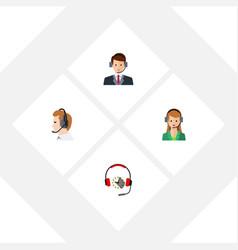Flat telemarketing set of telemarketing headphone vector