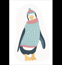 funny clumsy penguin cartoon character flat design vector image vector image