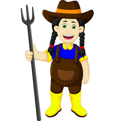funny female farmer cartoon holding rake vector image vector image