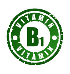 Green round rubber stamp with vitamin b1 vector