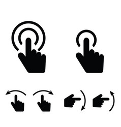 Hand touch set icon in black color vector