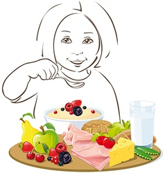 healthy eating child - vector image vector image
