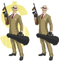 Hispanic mafioso with tommy-gun cartoon vector
