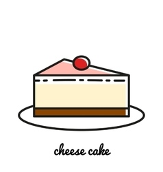 Line art cheese cake icon infographic elements vector