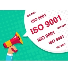 Megaphone with ISO 9001 announcement Flat style vector image