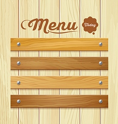 Menu wood board design background vector image