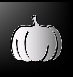 Pumpkin sign gray 3d printed icon on vector