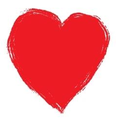 red brush heart vector image