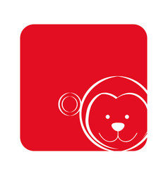 Red square picture of monkey animal vector