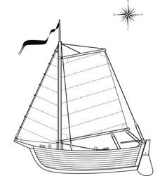 sailing vintage boat vector image vector image