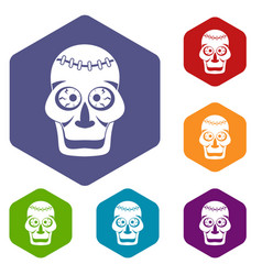 skull icons set hexagon vector image vector image