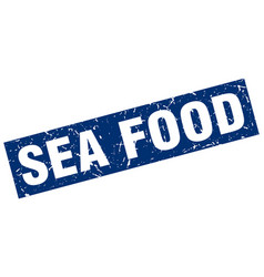 Square grunge blue sea food stamp vector