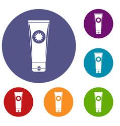 Sunscreen icons set vector