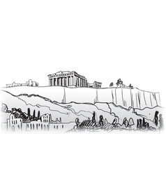 travel greece background athens city famous vector image