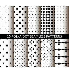 Unusual black white polka dot pattern set vector