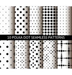 Unusual black white polka dot pattern set vector image vector image