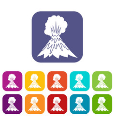 Volcano erupting icons set vector