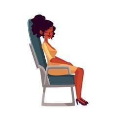 Young beautiful black african woman seating in vector