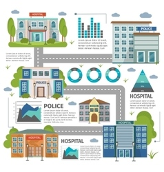 Flat Buildings Infographic vector image