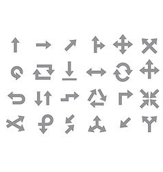 Arrows gray icons set vector image