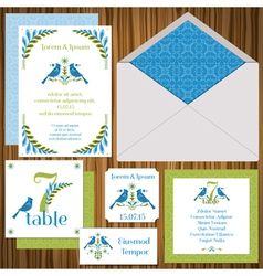 Wedding invitation card set vector
