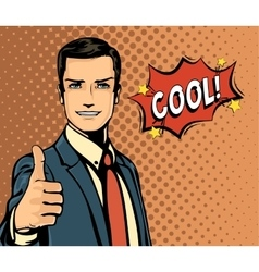 Cartoon businessman and bubble speech thumb up vector