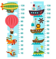 Air and sea transport height measure vector