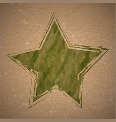 background with grunge camouflage star vector image