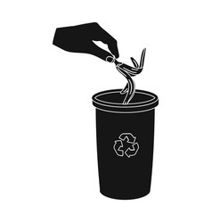 emission of banana peel into the garbage can for vector image