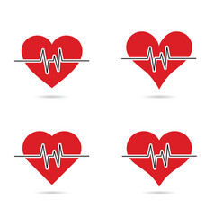 Heartbeat set in red color vector