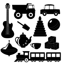 Set of toys silhouettes 2 vector
