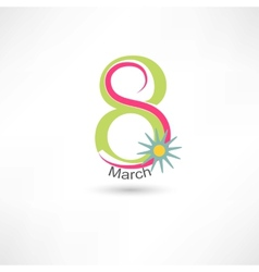 Womens day 8 march with flower vector