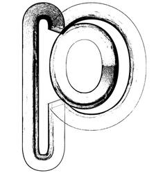 Grunge Font letter p vector image