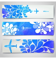 Set of watercolor airplane artistic banners vector