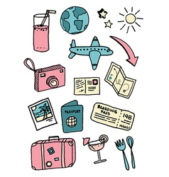 Travel and vacation doodles vector