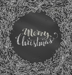 Chalk merry christmas background vector