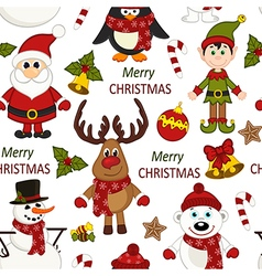 Christmas seamless pattern with santa penguin deer vector