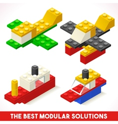 Toy block ship plane games isometric vector
