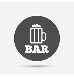 Bar or pub sign icon glass of beer symbol vector