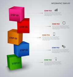 Info graphic with colored design cubes template vector