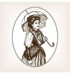 Vintage lady sketch style vector